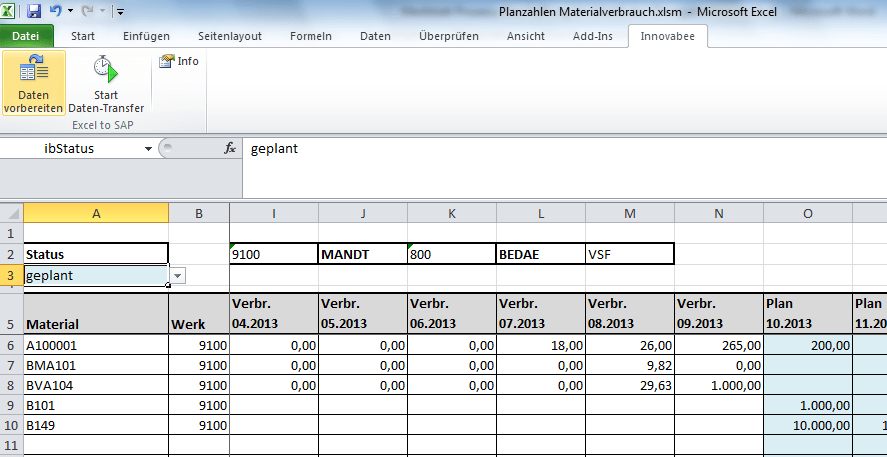 Absatzplanung Excel - Excel-to-SAP: Absatzplanung