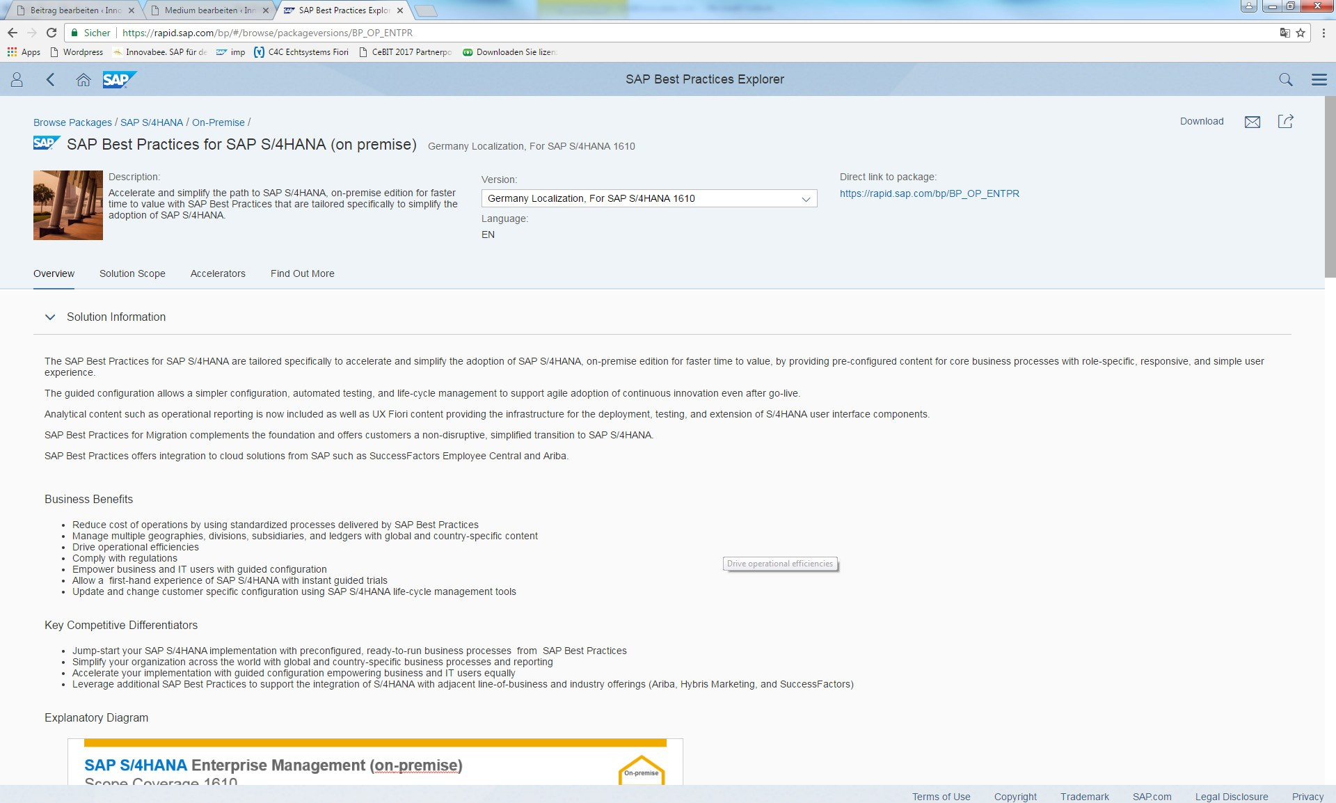 Blog Screen Best Practices Explorer Lösungsinformation S4HANA - Best Practices für SAP S/4HANA finden und nutzen – mit dem SAP Best Practices Explorer