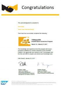 Zertifikat 10STeps2S4 211x300 - SAP Challenge: In 14 Tagen und 10 Schritten auf SAP S/4HANA migriert