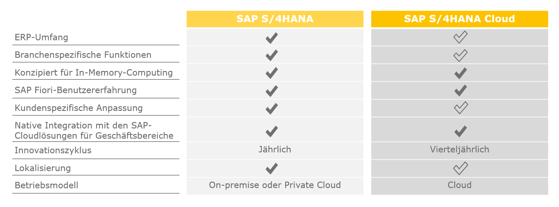 News Grafik SAP S4HANA vs. SAP S4HANA Cloud - SAP S/4HANA Public Cloud: Immer die neuesten SAP S/4HANA-Innovationen nutzen