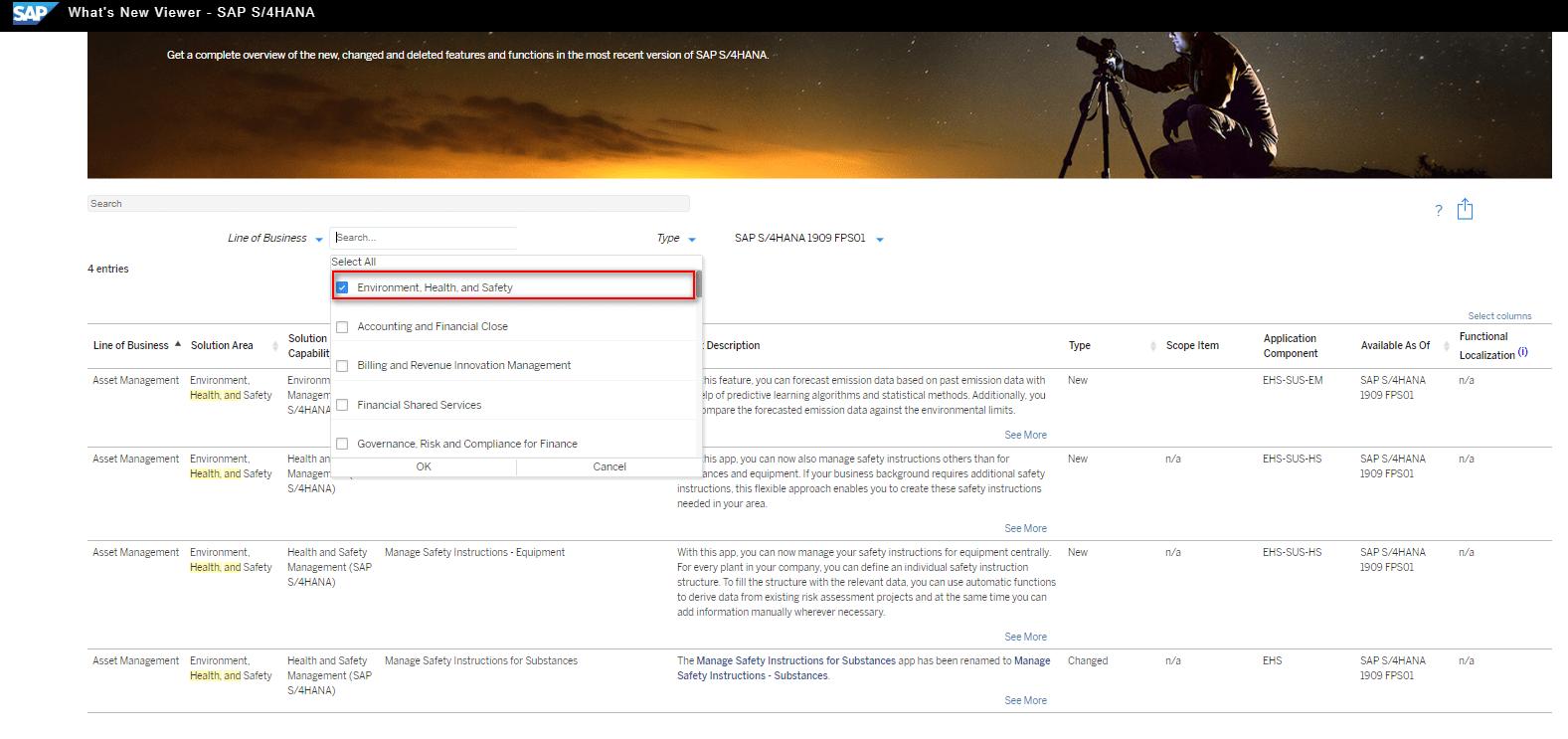 Blog Screen Whats new viewer Filter EHS - What's new viewer: Alle neuen und geänderten Funktionen von SAP S/4HANA auf einen Blick