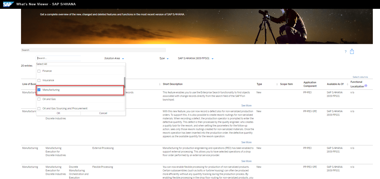 Blog Screen Whats new viewer Filter Produktion - What's new viewer: Alle neuen und geänderten Funktionen von SAP S/4HANA auf einen Blick