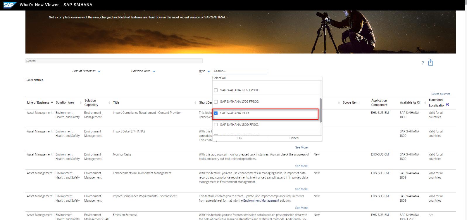 Blog Screen Whats new viewer Filter Release - What's new viewer: Alle neuen und geänderten Funktionen von SAP S/4HANA auf einen Blick
