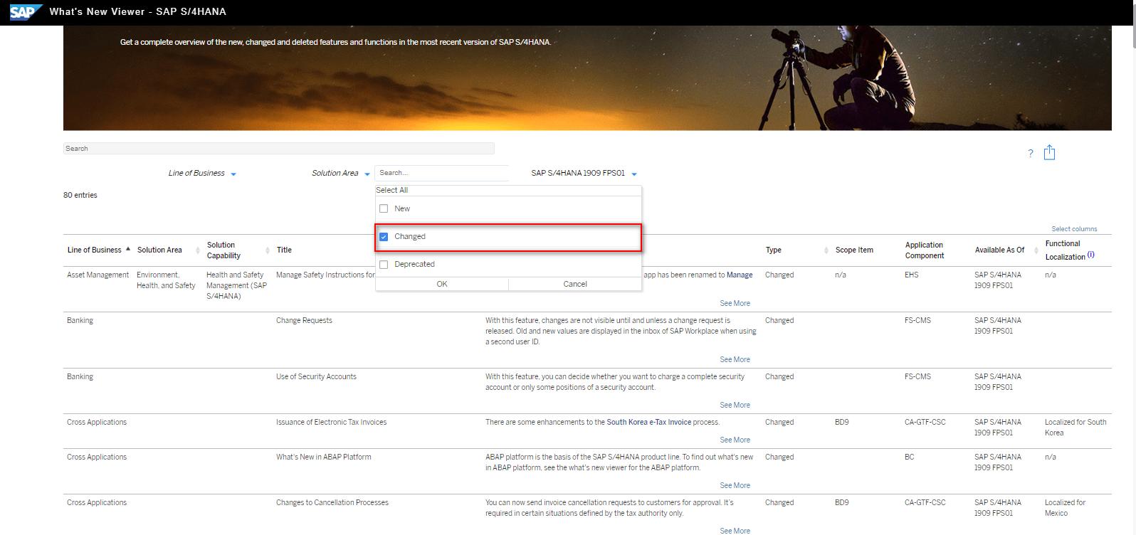 Blog Screen Whats new viewer Filter geänderte Funktionen - What's new viewer: Alle neuen und geänderten Funktionen von SAP S/4HANA auf einen Blick