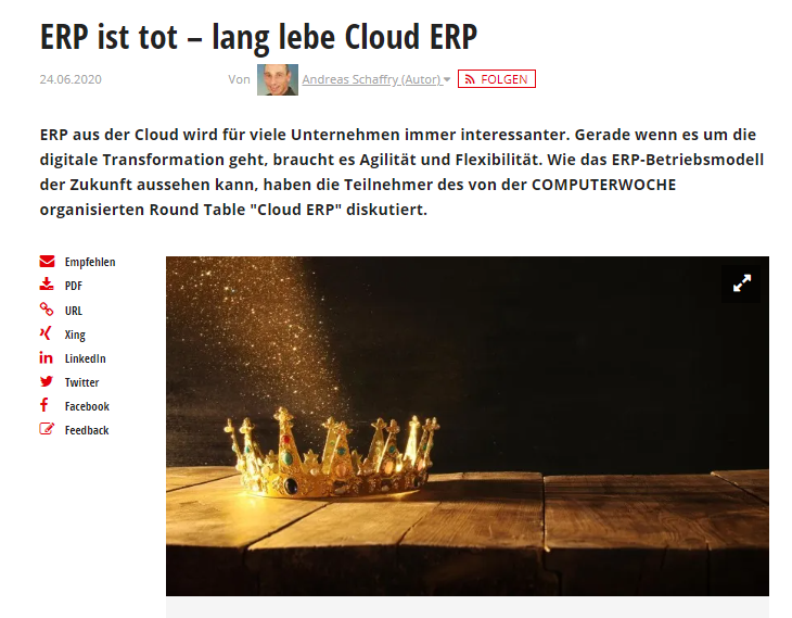 Blog Screen Computerwoche Roundtable ERP Cloud - Computerwoche-Experten-Talk: Kommt ERP in Zukunft nur noch aus der Cloud?