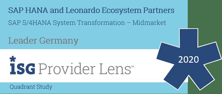 """News Grafik Badge ISG Provider Lens HANA Services 2020 - ISG Provider Lens™: Innovabee ist """"Leader"""" unter den SAP S/4HANA-Anbietern"""