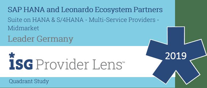 "News Grafik Batch ISG Provider Lens HANA Services 2019 - ISG Provider Lens™: Innovabee ist ""Leader"" unter den SAP S/4HANA-Anbietern"