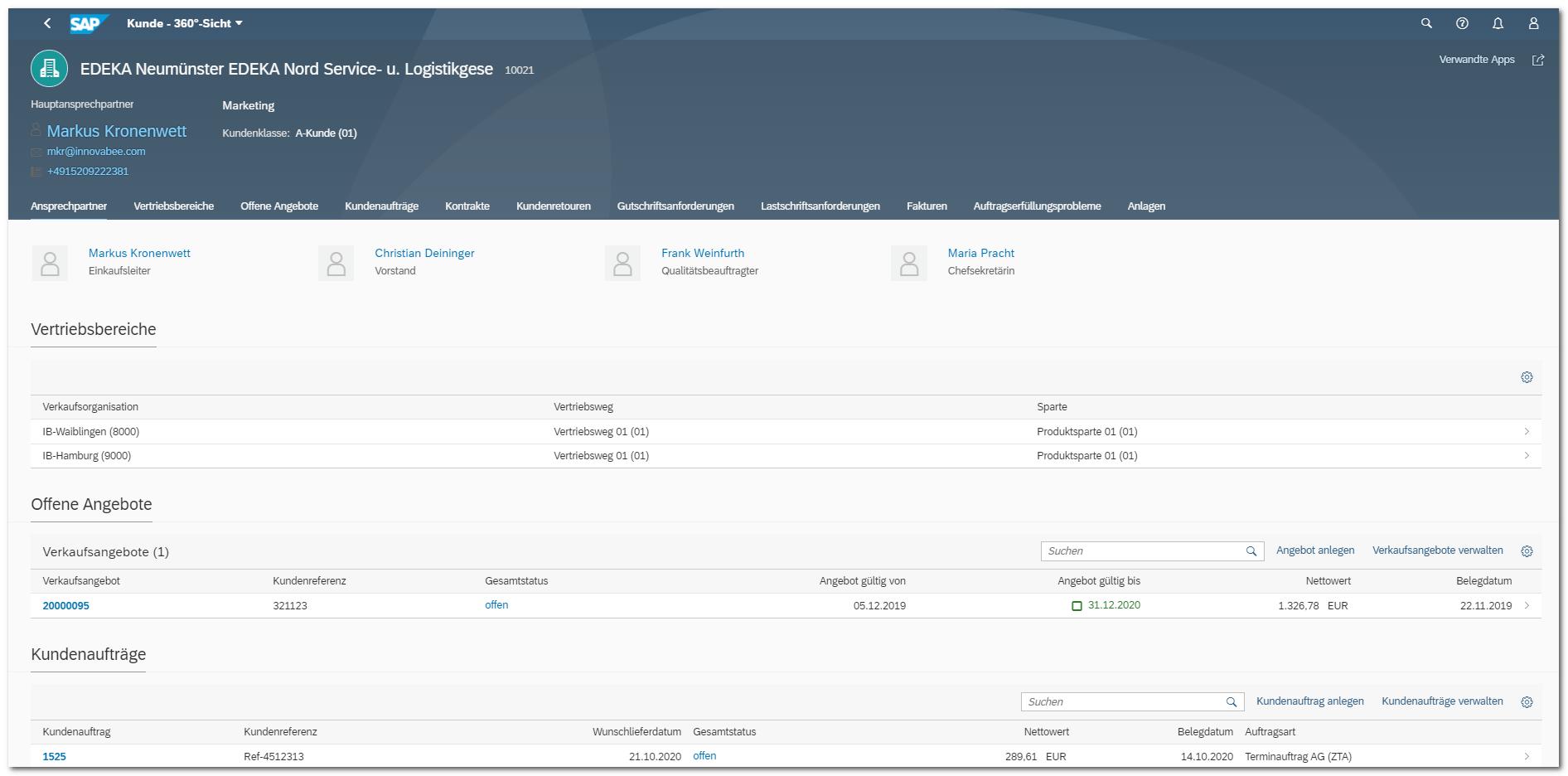 Blog Screen Sales 360 Grad Highlights S4HANA - Die besten Apps aus 5 Jahren SAP S/4HANA – Teil 4: Vertrieb